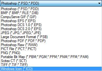 Тип файла для сохранения иконки